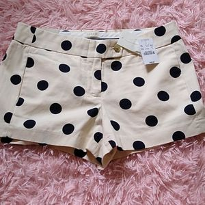 J. Crew chino city fit tan black polka dot shorts